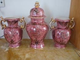 Faïencerie St Ghislain - Ensemble Vase Et Garniture Cheminée - Céramiques