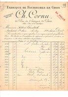 1909 FACTURE CH. CORNU FOURRURES EN GROS RUE DE L'ENTREPOT à PARIS - France