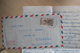 STORIA POSTALE LETTERA AFFRANCATA CON ISOLATO DEL 200 LIRE ITALIA AL LAVORO DA TRIESTE PER AUSTRALIA - 6. 1946-.. Repubblica