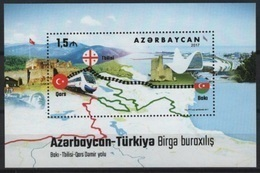 Azerbaidjan (2017) - Block -   / Joint Issue With Turkey - Trains - Railways - Flags - Locomotives - Joint Issues