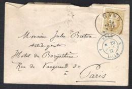 BELGIE OBP 32 Op Enveloppe GAND 1877 Naar PARIS (France) Grensstempel - 1869-1883 Léopold II