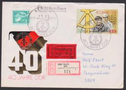 Jubiläum 40 Jahre DDR FDC-R-Eil-Brief Berlin ZPF (c 171) Portogenau Marke Aus Block 100, Arbeiter Und Ingenieur - DDR