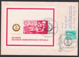 Jahrestag 35 Jahre DDR Block78 FDC Brief Mit Zusatzfrankatur, Abb Arbeiterfamilie Mit Wohungsbau-Programm Kräne Wohnunge - [6] República Democrática