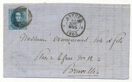 1863 BRIEF Met COB 10? Van ANTHEE Naar BRUXELLES Zie Scan(s) - 1858-1862 Médaillons (9/12)