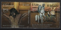 Salvador (2007) Yv. 1697/98  /  UPAPEP - Cervantes - Quijote - Horse - Rocinante - Donkey - Windmill - Ecrivains