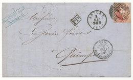 1859 BRIEF Met COB 12A? Van ANVERS Naar QUIMPER, Rug AMBt DU MIDI No2 Zie Scan(s) - 1858-1862 Médaillons (9/12)