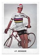CARTE CYCLISME JEAN PIERRE MONSERE SIGNEE IMPRESO EN LA CARTE TEAM MARS FLANDRIA 1971 - Cycling