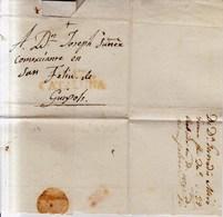 Prefilatelia 1829 Envuelta  Gerona A San Feliu De Guixols Marca G17 Cataluña - Espagne