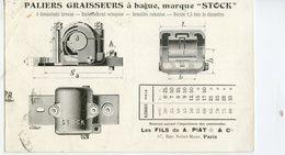 """Pub - Marque """"STOCK""""  Paliers Graisseurs à Bague-Maison A. PIAT & Cie. -Timbre Perforé A.P De La Maison - Publicité"""