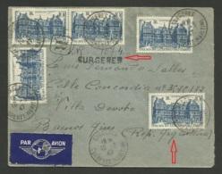 Lettre Avion >>> ARGENTINE / Recommandé Provisoire SURGERES - CHARENTE MARITIME 10.03.1947 / Affr. Palais Luxembourg X 5 - Postmark Collection (Covers)