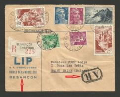 """Recommandé A.R. """" Horlogerie LIP """" / BESANCON 02.10.1948 >>> SUISSE / Affr. Gandon - Mazelin - Conques - Pointe Du Raz - Storia Postale"""