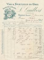 FA 1258  / FACTURE -  VINS & SPIRITUEUX L. GUILBERT     BERNAY  1910 - Food