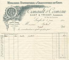 FA 1259  / FACTURE -  MERCERIE BONNETERIE  CONFECTIONS ESNAULT & COSNEAU LAIGLE   1910 - Textile & Clothing