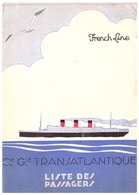 """FRENCH LINE -CIE TRANSATLANTIQUE -LISTE DES PASSAGERS-MONDAY JULY 31st,1933  FROM HAVRE PLYMOUTH TO NEW YORD -S.S.""""PARIS - Zonder Classificatie"""