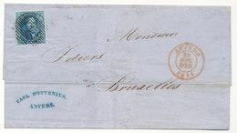 1855 BRIEF Met COB 7 Van ANVERS Naar BRUXELLES  Zie Scan(s) - 1851-1857 Medaillons (6/8)