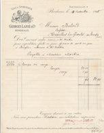 FA 1261  / FACTURE -    VINS & SPIRITUEUX  GEORGES LANIE  BORDEAUX    1908 - Food