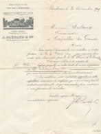FA 1262  / FACTURE -    VINS FINS  & SPIRITUEUX   J. PLENAUD   BORDEAUX    1909 - Food