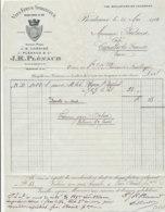 FA 1263  / FACTURE -    VINS FINS  & SPIRITUEUX   J. PLENAUD   BORDEAUX    1914 - Food