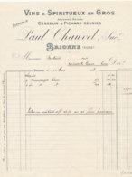 FA 1264  / FACTURE -    VINS   & SPIRITUEUX    PAUL CHAUVEL  BRIONNE   1913 - Food