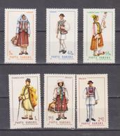 COSTUMES TRADITIONAL ROMANIA, FASHION, TEXTILE, CULTURES ROMANIA YEAR 1968 REGIONAL COSTUMES TRADITIONAL UNUSED 6v. - Kostüme