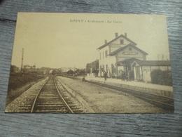CPA ANIMEE - LA GARE DE LONNY - ARDENNES - Gares - Sans Trains