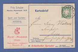 Bayern Privat-Anzeigenkartenbrief 5 Pfg Wappen 1907 Echt Gel. In Top-Erhaltung ! - Bavière