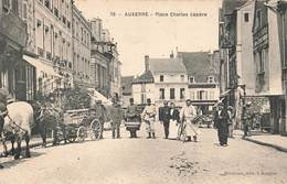 89 Auxerre Place Charles Lepere Cpa Carte Animée Cachet 1906 - Auxerre