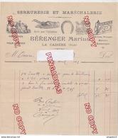 Au Plus Rapide Var La Cadière D'Azur Facture Serrurerie Bérenger Avril 1912 - France