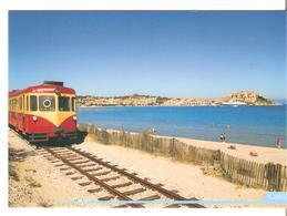 CPM 2B HAUTE CORSE CALVI LA CITADELLE LA PLAGE LE PETIT TRAIN   (NON ECRITE) - Calvi
