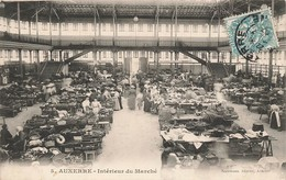89 Auxerre Interieur Du Marché Cpa Carte Animée Cachet 1907 - Auxerre