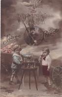 """MILITARIA .RARETÉ. CARTE PATRIOTIQUE ."""" JEUNE FRANCE"""". ENFANTS JOUEURS D'ÉCHECS. ANNEE 1920 - Patriotic"""