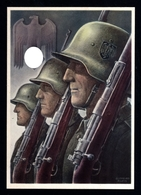 018-GERMAN EMPIRE-MILITARY PROPAGANDA POSTCARD WEHRMACHT Soldiers.WWII.DEUTSCHES REICH.POSTKARTE.carte Postale - Briefe U. Dokumente