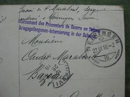 """CPA AVEC TAMPON """"KRIEGSGEFANGENEN INTERNIERUNG IN DER SCHWEIZ"""" ( Scan Recto/verso ) - War 1914-18"""