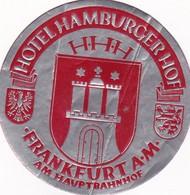 HOTEL HAMBURGER HOF FRANKFURT AM HAUPTBAHNHOF STICKER CALCOMANIA CIRCA 1980s - BLEUP - Etiquettes D'hotels