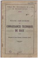 CONNAISSANCES TECHNIQUES DE BASE -ECOLE DES MECANICIENS DE L'AIR DE ROCHEFORT SUR MER-RESUME AIDE-MEMOIRE- Préparation D - Other
