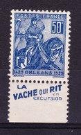FRANCE 50c Bleu 257 Neuf* Avec Pub LA VACHE QUI RIT - Advertising