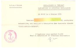 """D.C.A.N. TOULON-SOUS-DIRECION """"ETUDES"""" LABORATOIRE SOUS-MARIN- LE BRUSC 1970 - Documents"""