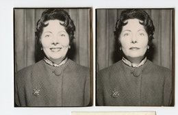 Femme Woman Photo Identité Photobooth Duo 50s Broche Smiling Sourire - Personnes Anonymes