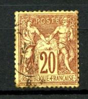 67 - 20c Brun-lilas Sage Type I (N/B) - Oblitéré - Très Beau - 1876-1878 Sage (Type I)
