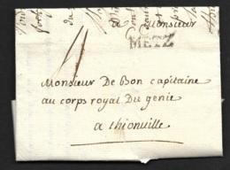 Moselle-Lettre Avec Marque METZ-1784-Pour Thionville - Marcophilie (Lettres)