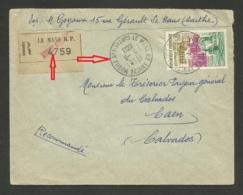 """Cachet """" LE MANS R.P. ANNEXE MOBILE N°1 - SARTHE """" /  Recommandé 1963 >>> CAEN - Marcophilie (Lettres)"""