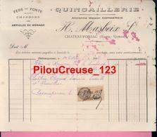 87 Haute Vienne - CHATEAUPONSAC - Facture Du 01/10/1928 De  H. MASBEIX  Quincaillerie - Chemist's (drugstore) & Perfumery