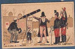 Chromo Chocolat Debauve Gallais Tours Litho Gibert Clarey Humour Rue De L'observatoire La Lune à Un Mètre Militaires - Unclassified