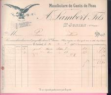 """87 Haute Vienne - SAINT JUNIEN - """" Facture Du 20/11/1906 De A. LAMBERT Fils - Manufacture De Gants De Peau - Textile & Clothing"""