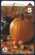 LATVIA - LETTLAND - LETTONIE LATTELEKOM 5 LATI CHIP PHONECARD TELECARTE PUMPKIN 1999 - Letland