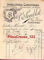 """87 Haute Vienne -LIMOGES  - """" Facture Du 15/02/1901 - Maison P. SEMBLAT - Charcuterie Comestibles - Textile & Clothing"""