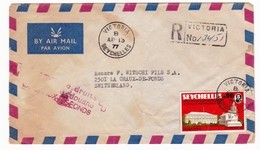Letter Registered Victoria Seychelles 1977 La Chaux De Fonds Switzerland Suisse - Seychelles (1976-...)
