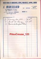 """87 Haute Vienne -LIMOGES  - """" Facture - Maison J. MARCILLAUD - Oeufs Frais Et Conservés, Cêpes, Volailles, Lapins, Gibie - Textile & Clothing"""