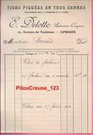 """87 Haute Vienne - LIMOGES  - """" Facture - Maison E. DELOTTE - Patronier - Coupeur - Tiges Piquées En Tous Genres - Textile & Clothing"""