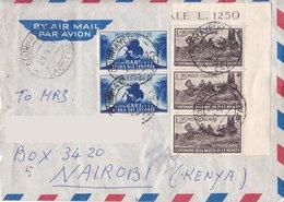 Aerogramma Diretto In Kenia Da Torino - Levante 2 Valori Da 25 Lire - Michetti 3 Valori Da 25 Lire - 6. 1946-.. Repubblica